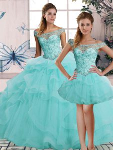 Perfect Tulle Off The Shoulder Sleeveless Lace Up Beading and Ruffles Ball Gown Prom Dress in Aqua Blue
