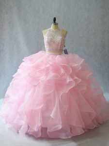 Baby Pink Two Pieces Halter Top Sleeveless Organza Brush Train Backless Beading and Ruffles Quinceanera Gown