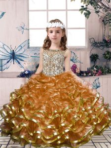 On Sale Brown Lace Up Scoop Beading and Ruffles Pageant Gowns For Girls Organza Sleeveless