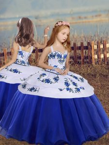 Royal Blue Sleeveless Embroidery Floor Length Pageant Gowns For Girls