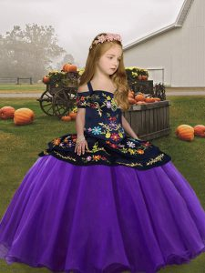 Beauteous Eggplant Purple Kids Formal Wear Party and Wedding Party with Embroidery Straps Sleeveless Zipper