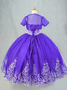 Purple Spaghetti Straps Neckline Beading and Embroidery Kids Formal Wear Sleeveless Lace Up