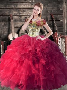 Hot Selling Ball Gowns Sweet 16 Quinceanera Dress Pink And White Off The Shoulder Organza Sleeveless Floor Length Lace Up