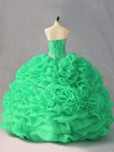 Green Lace Up Quinceanera Gown Beading and Pick Ups and Hand Made Flower Sleeveless Floor Length