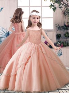 Off The Shoulder Sleeveless Lace Up Girls Pageant Dresses Peach Tulle