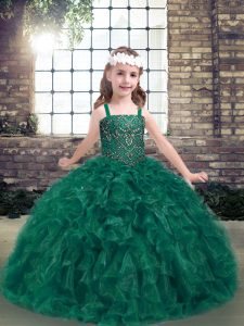Dark Green Straps Neckline Beading and Ruffles Kids Pageant Dress Sleeveless Lace Up
