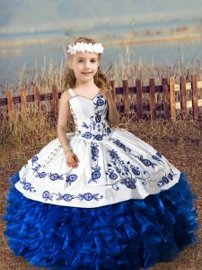 Fancy Sweetheart Sleeveless Sweet 16 Dress Floor Length Embroidery and Ruffles Blue And White Organza