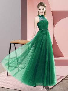 Exceptional Dark Green Halter Top Lace Up Beading and Appliques Quinceanera Court Dresses Sleeveless