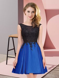 Royal Blue Scoop Zipper Lace Dama Dress Sleeveless