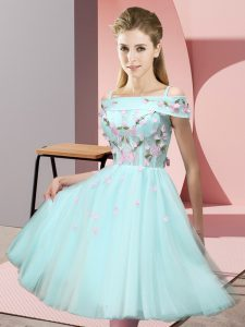 Apple Green Empire Tulle Off The Shoulder Short Sleeves Appliques Knee Length Lace Up Dama Dress for Quinceanera