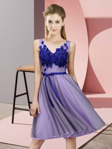 Lavender Empire Appliques Dama Dress Lace Up Tulle Sleeveless Knee Length