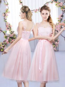 Enchanting Baby Pink Sleeveless Tea Length Lace and Belt Lace Up Court Dresses for Sweet 16