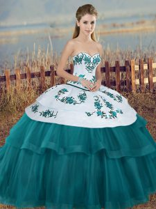 Sleeveless Floor Length Embroidery and Bowknot Lace Up 15 Quinceanera Dress with Teal