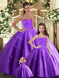 Unique Eggplant Purple Ball Gowns Tulle Sweetheart Sleeveless Beading Floor Length Lace Up Sweet 16 Dress