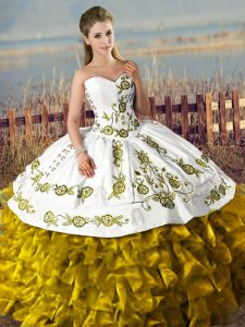 Beauteous Brown Sleeveless Satin and Organza Lace Up 15th Birthday Dress for Sweet 16 and Quinceanera