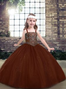 Beauteous Brown Straps Lace Up Beading Child Pageant Dress Sleeveless