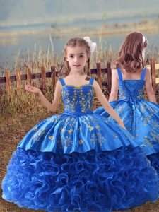 Sleeveless Sweep Train Lace Up Embroidery Little Girl Pageant Dress