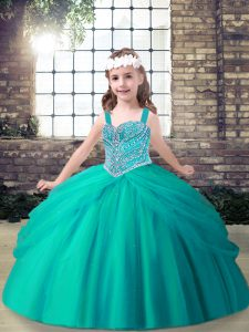 Unique Sleeveless Lace Up Floor Length Beading Pageant Gowns For Girls