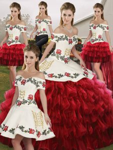 Most Popular Wine Red Sleeveless Organza Lace Up 15 Quinceanera Dress for Military Ball and Sweet 16 and Quinceanera