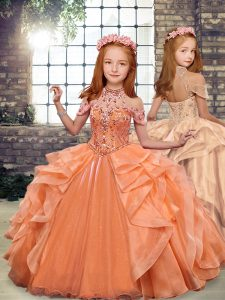 Most Popular Sleeveless Beading and Ruffles Lace Up Little Girl Pageant Dress