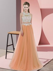 Noble Orange Halter Top Neckline Lace Dama Dress Sleeveless Zipper