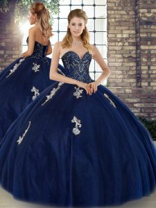 Navy Blue Lace Up Quinceanera Dresses Beading and Appliques Sleeveless Floor Length