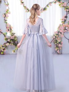 Sexy Tulle Half Sleeves Floor Length Court Dresses for Sweet 16 and Lace and Belt