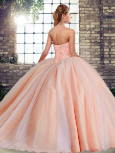 Fantastic Tulle Sleeveless 15 Quinceanera Dress Brush Train and Beading