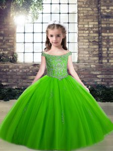 Fantastic Sleeveless Beading Floor Length Little Girl Pageant Dress