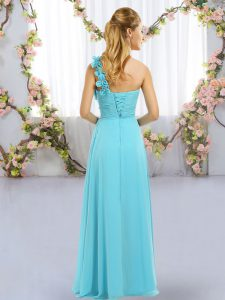 Fashion Turquoise One Shoulder Lace Up Hand Made Flower Court Dresses for Sweet 16 Sleeveless