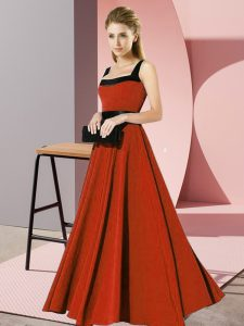 Beauteous Floor Length Rust Red Quinceanera Court Dresses Chiffon Sleeveless Belt