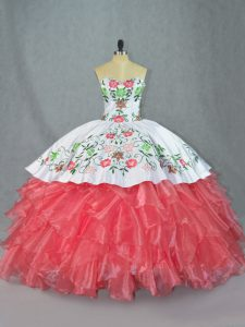 Sleeveless Lace Up Embroidery and Ruffles Sweet 16 Dress