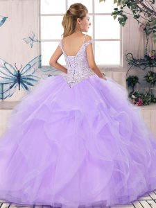 Floor Length Lace Up Sweet 16 Quinceanera Dress Royal Blue for Military Ball and Sweet 16 and Quinceanera with Beading and Ruffles