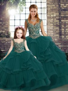 Fashion Sleeveless Lace Up Floor Length Beading and Ruffles Ball Gown Prom Dress