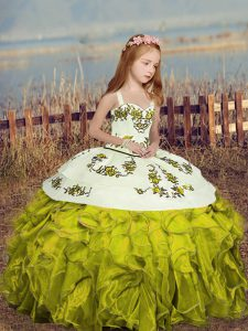 Sleeveless Organza Floor Length Lace Up Little Girls Pageant Dress in Olive Green with Embroidery and Ruffles