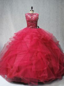Stunning Brush Train Ball Gowns Quinceanera Dress Coral Red Scoop Tulle Sleeveless Lace Up