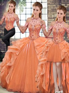 Extravagant Orange Organza Lace Up Halter Top Sleeveless Floor Length Quinceanera Gown Beading and Ruffles