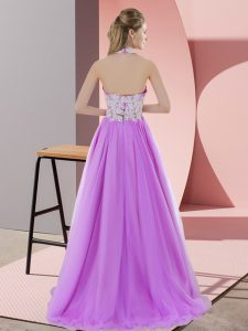 Lilac Tulle Zipper Halter Top Sleeveless Floor Length Quinceanera Court Dresses Lace