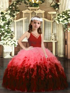 Multi-color V-neck Zipper Beading and Ruffles Kids Pageant Dress Sleeveless