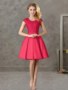 Fabulous Mini Length Red Quinceanera Dama Dress Scoop Short Sleeves Zipper