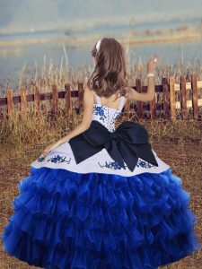 Embroidery and Ruffled Layers Little Girls Pageant Dress Wholesale Green Lace Up Sleeveless Floor Length