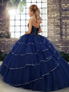 Fabulous Yellow Ball Gowns Beading and Ruffled Layers Quince Ball Gowns Lace Up Tulle Sleeveless