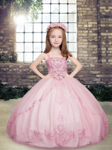 Great Lilac Tulle Lace Up Child Pageant Dress Sleeveless Floor Length Beading