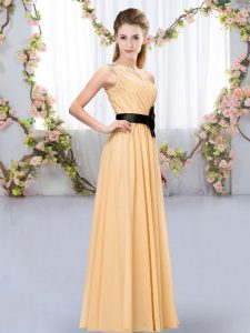 Nice Orange Sleeveless Belt Floor Length Quinceanera Court of Honor Dress