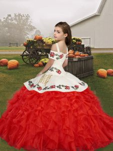 Custom Design Embroidery and Ruffles Little Girl Pageant Dress Red Lace Up Sleeveless Floor Length