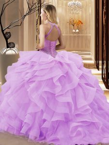 Attractive Light Blue Quinceanera Dresses Halter Top Sleeveless Brush Train Lace Up