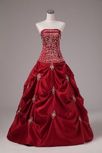 New Arrival Wine Red Sleeveless Floor Length Embroidery and Pick Ups Lace Up Quinceanera Gown