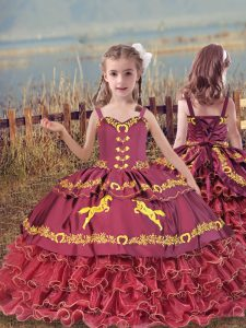 Hot Selling Sleeveless Floor Length Beading and Embroidery and Ruffled Layers Lace Up Kids Pageant Dress with Wine Red