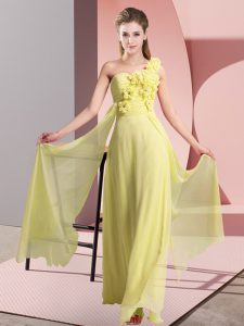 Luxurious Yellow One Shoulder Lace Up Hand Made Flower Quinceanera Dama Dress Sleeveless