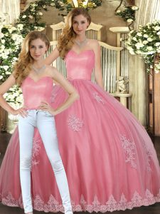 Watermelon Red Tulle Lace Up Sweetheart Sleeveless Floor Length Quinceanera Gowns Appliques
